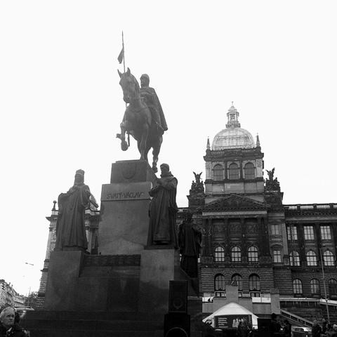 The statue of St Wenceslas, whom Wenceslas Square is named after.