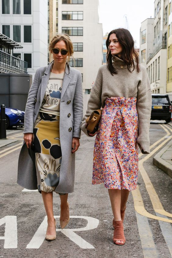 colourful skirt grey coat