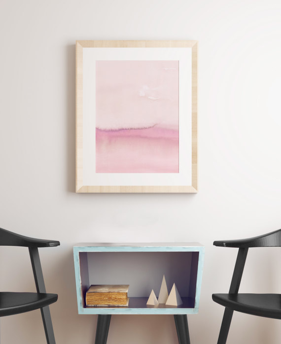 abstract pink pastel artwork print